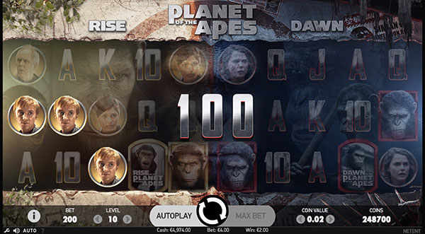 Planet of the Apes Machine à Sous Gratuit (40 Lignes) Netent